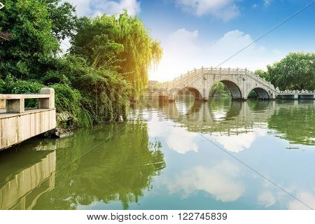 China Beijing Garden Bridge Old Bridge reflection