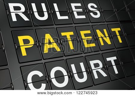 Law concept: Patent on airport board background