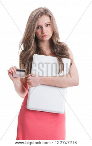 Dissapointed Girl Holding Laptop And Credit Card