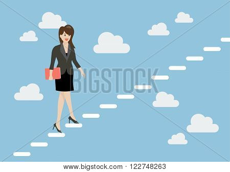 Business woman stepping up a staircase in the sky. Business Concept