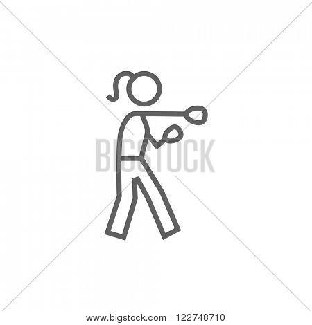 Female boxer line icon.