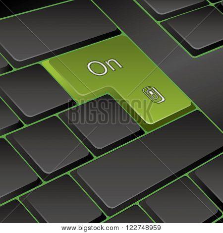 vector keyboard. key on