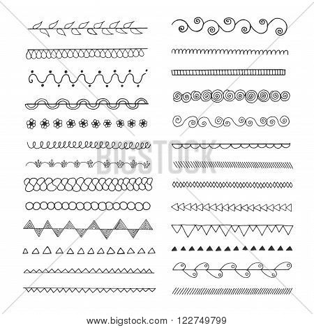 Set of hand drawn line  borders. Scribble and doodle design element. Ethnic, vintage fashion pattern. Flourishes ornaments. Design collection for badges, banners, posters, placards, lables, invitations and logotypes.