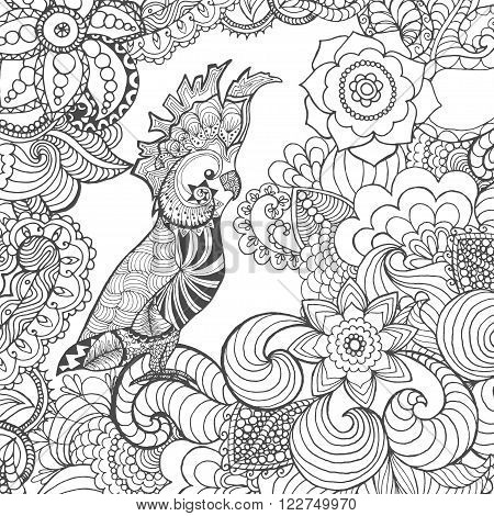 Cute cockatoo in fantasy flowers. Animals. Hand drawn doodle. Ethnic patterned illustration. African, indian, totem tatoo design. Sketch for avatar, tattoo, poster, print or t-shirt.