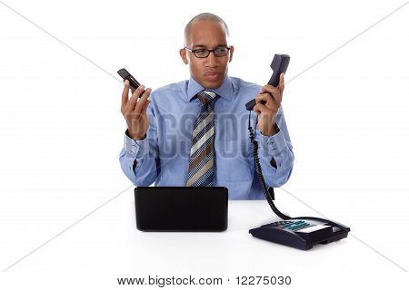 Young Attractive African-american Businessman, Phone