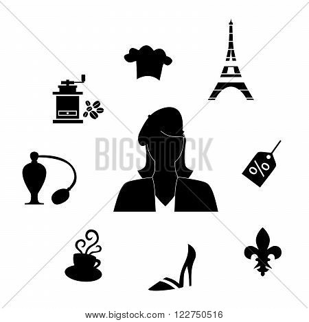 set of different  object on the theme of French culture.