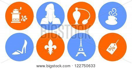 set of different icons on the theme of French culture.