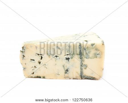 Blue roquefort cheese isolated over the white background