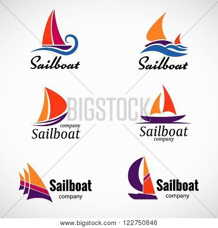 Sailboat logo vector set design element with business card template.