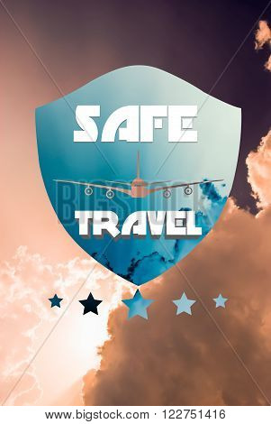Safe travel or flying. Travel insurance concept with plane and shield shape on sky background