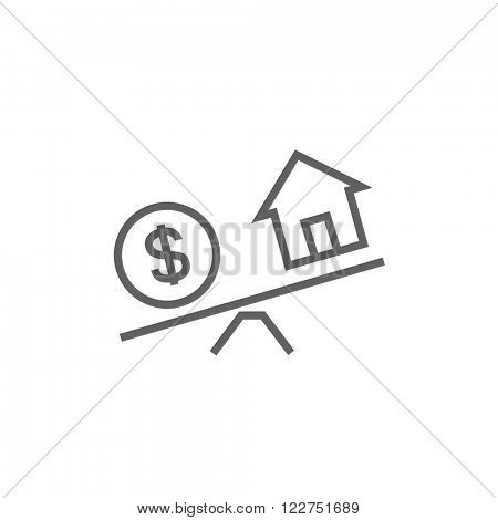 House and dollar symbol on scales line icon.