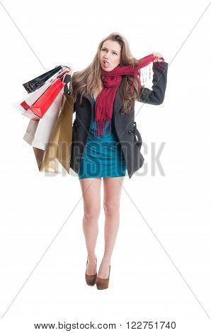 Shopping Woman Hanging Herself With A Scarf