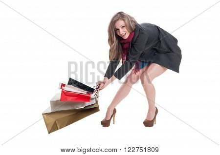 Happy Shopping Lady Dragging Heavy Bags