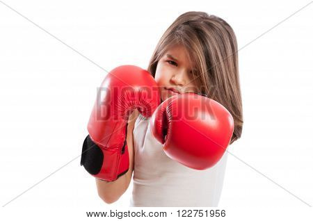 Young Boxer Girl In A Fighting Position