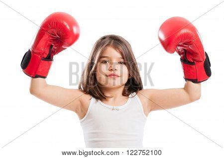 Young Boxer Girl Raising Arms Up