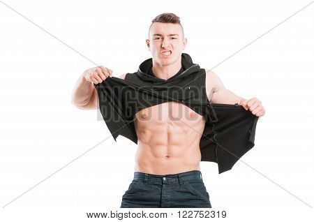 Muscular Male Model Ripping His Shirt