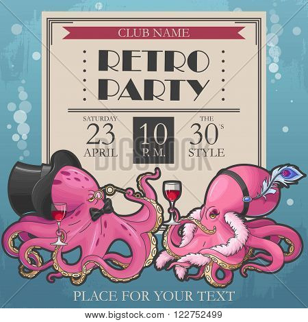 Vector retro party poster with two octopuses