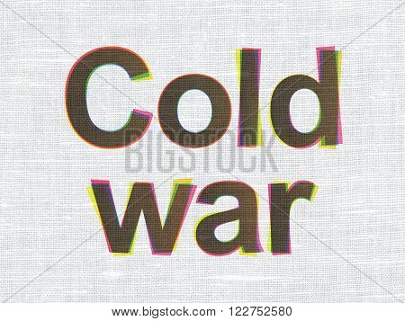 Political concept: Cold War on fabric texture background