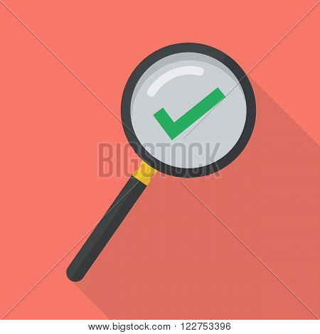 Magnifying glass with approved symbol. verification concept