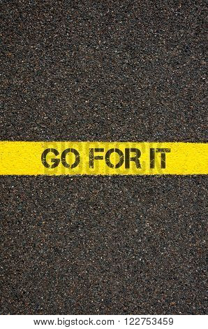 Road Marking Yellow Line With Words Go For It