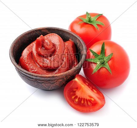 Tomato paste with tomatoes vegetables isolated on white. Tomatoes sauce