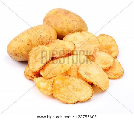 Potato chips with potato isolated on white