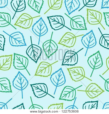 vector seamless background with  birch colored leaves