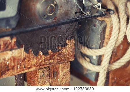 Close up circular saw. The concept workplace of carpenter