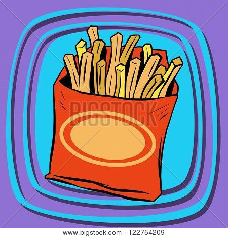 Fries fast food pop art retro vector. French fries. Potato straws. Fried potatoes