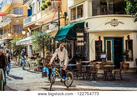 NICOSIA CYPRUS - DECEMBER 3: Cafeterias along Onasagorou Street a popular tourist sidewalk in central Nicosia on December 3 2015.