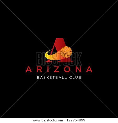 letter A vector template for using as basketball club logo