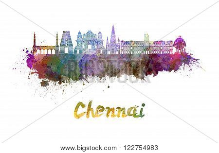 Chennai skyline in watercolor splatters with clipping path