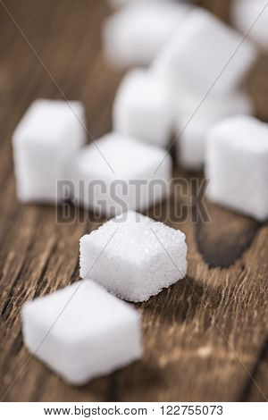 Old Wooden Table With White Sugar