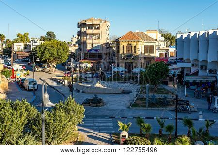 NICOSIA CYPRUS - DECEMBER 3: Inonu Square at the entrance of the walled city of Nicosia on December 3 2015.