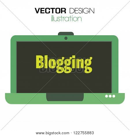 Isolated green laptop with the text blogging written on its screen