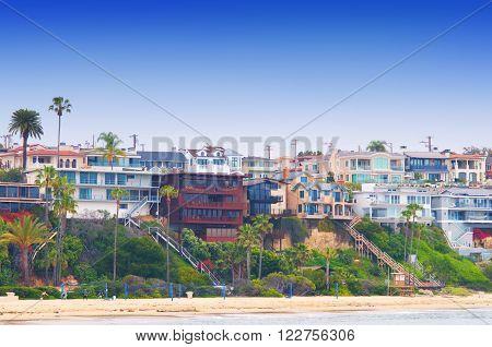 beach houses at Corona Del Mar California USA