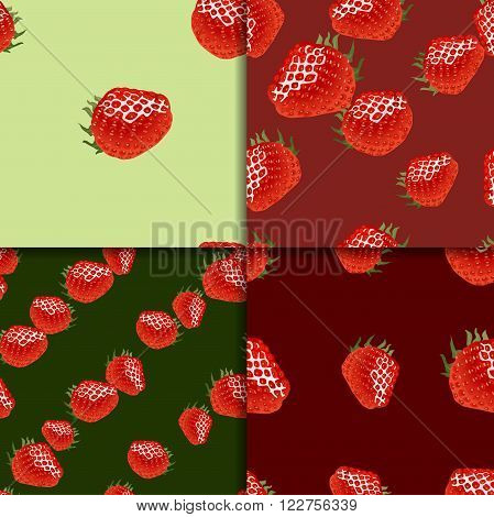 Four seamless patterns with ripe strawberry on green and red backgrounds. Good for web, wrapping paper, print etc