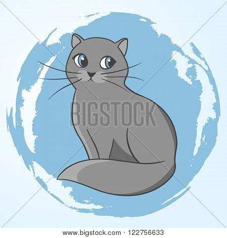 Cute gray cat. Illustration of a beautiful cat. Gray cat. Sitting cat. Vector illustration