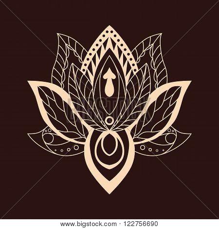 Lotus Mandala. Vector ornamental Lotus, ethnic zentang. Ornamental Boho Style lotus Flower. Indian Lotus. Lotus Mehndi. Vector illustration. Yoga, India, arabic, om