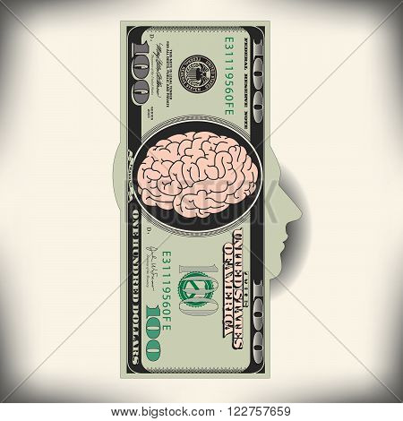 Using the brain to make money is the theme of this illustration
