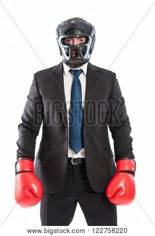 Protected business man ready for competitors wearing helmet and red boxing gloves