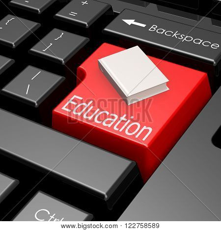 Education And Book On Button Of Computer Keyboard