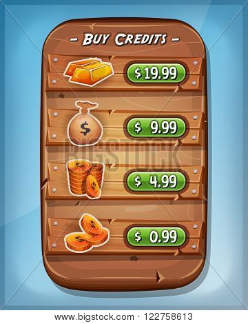 Illustration of a funny cartoon design wood panel with buying credits levels and price options coins dollar bag and gold ingot for game ui app on tablet pc on blue sky