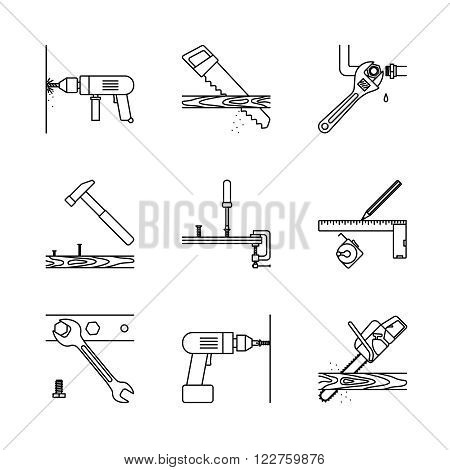 Home repair line icons. Home repair tools vector icons on white background