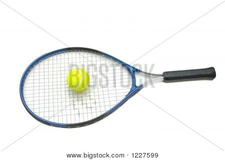 Tennis Racket And Ball Isolated On The White