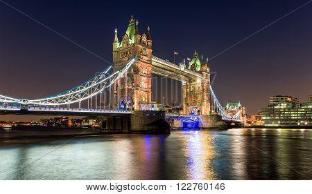 Tower Bridge by night, London, United Kingdom