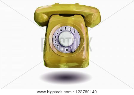Beautiful vintage antique telephone isolated on white background.