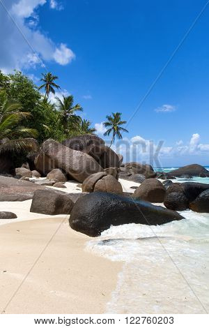 Beach with granite boulders at Silhouette Island, Seychelles