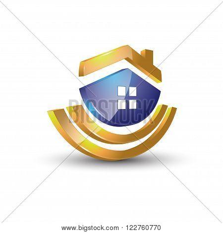 Colorful imaginative home, house, property restoration graphic design logo icon