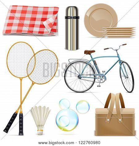 Vector Picnic Icons isolated on white background